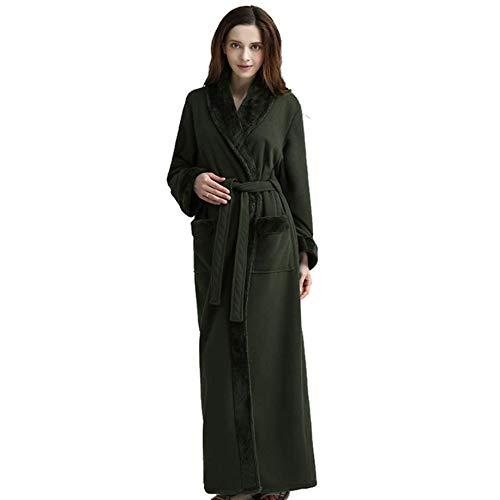 peluche super Lunghezza camicia vestaglia notte inverno donna Sleepwear cesto pile Green doccia morbido intera da da Solid uomo Green da Dimensioni Plus in Colored medium con coppia tasche Housecoat 7r07qvUw