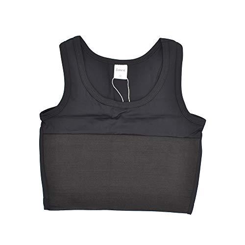 BaronHong Middle Zip Up elastische Brust Binder Korsett kurz Tank Top f/ür Tomboy Trans Lesben
