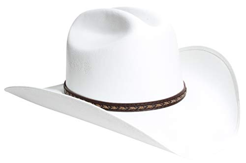 Queue Essentials Faux Felt Western Style Pinch Front Straw Canvas Cowboy Cowgirl Straw Hat (Large/X-Large, B) ()