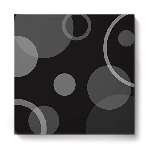 - Square Canvas Wall Art Oil Painting for Bedroom Living Room Home Decor,Grey Circle Pattern Black Office Artworks,Stretched by Wooden Frame,Ready to Hang,16 x 16 Inch