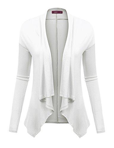 Doublju Lightweight Shawl Collar Draped Open Cardigan CREAM (Peaches Cardigan Style Jacket)