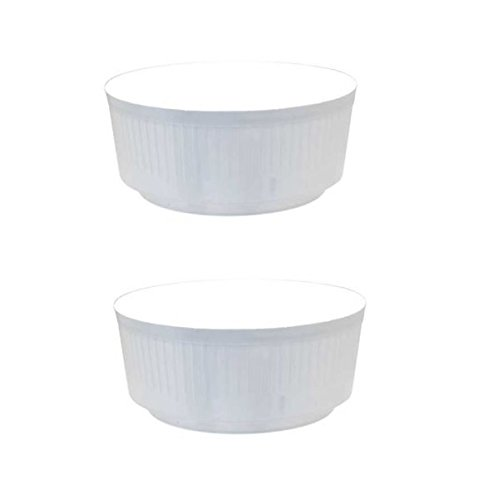 APAC 2 x Small White 18cm Round Plastic Garden Bulb Bowl Storage Grow Tub Pot