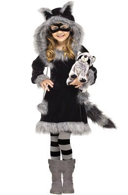 Fun World Costumes Baby Girl's Sweet Raccoon Toddler Costume, Black/Grey, Small (3T-4T)]()