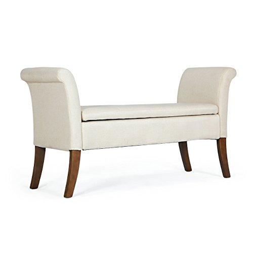 Belleze Modern Upholstered Storage Bench Settee Living Room with Armrest Button Tufted Wood Legs, Beige