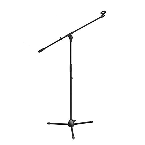 Pyle Foldable Tripod Microphone Stand - Universal Mic Mount and Height Adjustable from 37.5'' to 65.0'' Inch High w/ Extending Telescoping Boom Arm Up to 28.0'' - Knob Tension Lock Mechanism PMKS3 - Micro Perfect Guitar Nut