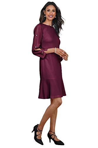Women's Split Sleeve Crepe A-Line Dress 3/4 Length Sleeve Scoop Neckline 100% Poly 38.5