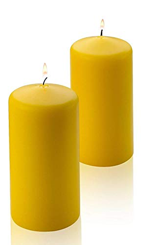 Citronella Pillar Candle - Set of 2 Summer Scented Citronella Candles - 3 inch Tall, 6 inch Thick – 54 Hour Protection from Mosquito - Bug Repellent for Indoor/Outdoor Use - Made in USA