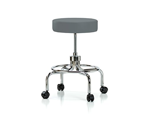 Perch Rolling Retro Exam Stool with Wheels for Carpet or Linoleum, Cinder Fabric (Stool Lift Spin)