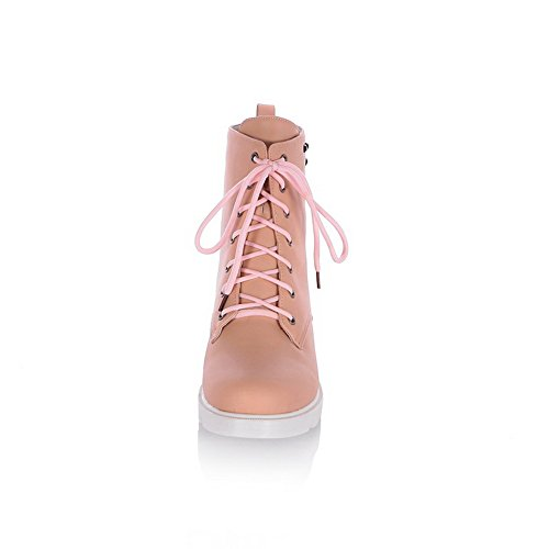 Heels 1TO9 Boots Womens Leather Bandage Chunky Pink Rivet Imitated OxpqE