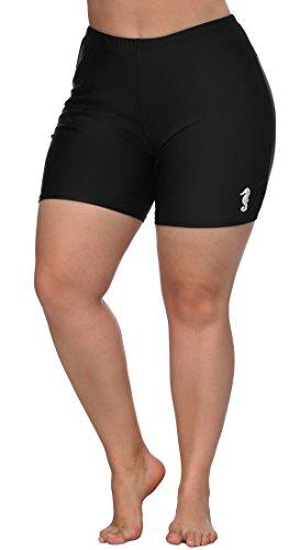 beautyin Womens Black Swim Bottom Long Jammer Plus Size Swim Short Boardshort 0X