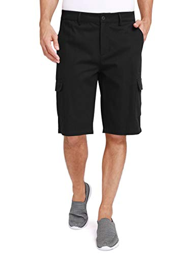 - CAMEL CROWN Cargo Shorts for Men Classic Fit Twill Cotton Casual Work Shorts with Multi Pockets Outdoor Hiking Khaki Grey Black Black 44