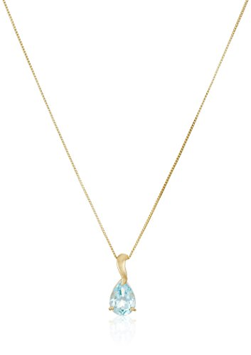 10K Yellow Gold Pear Shaped Sky Blue Topaz Pendant Necklace, 18