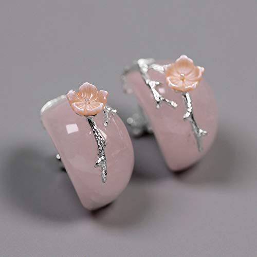 SKYEARRING 925 Sterling Silver Natural Pink Quartz Flower Branch Stud Earrings for Women Wedding Party Jewelry ()