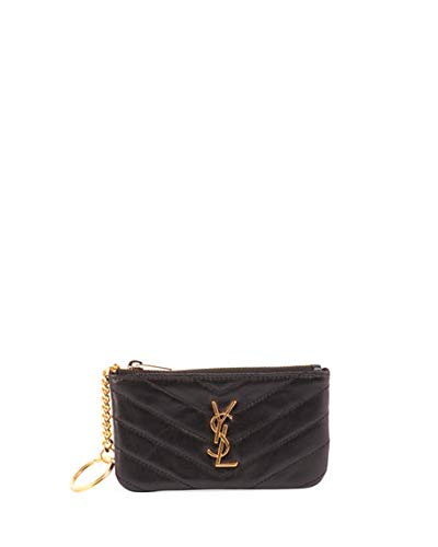 ea0d5990bd7 Saint Laurent Loulou Monogram YSL Mini Quilted Leather Zip Pouch with Key  Ring - Golden Hardware