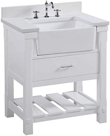 Charlotte 30-inch Bathroom Vanity Quartz White Includes White Cabinet