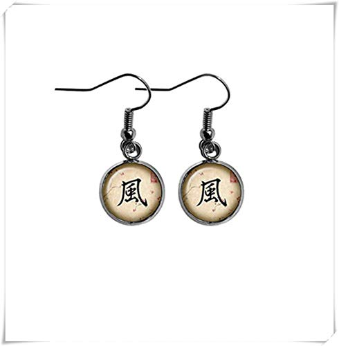 memory Japanese Calligraphy Kanji Wind Flag Earrings,Dome Glass Ornaments, Personalized Earrings, Pure Hand-Made