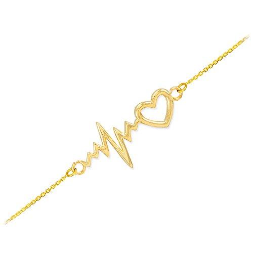 Dainty 14K Or jaune Bracelet de rythme cardiaque, 19,1cm réglable jusqu'à 20,3cm
