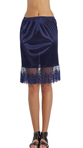 - Melody [Shop Lev] Single Lace Satin Underskirt Skirt Extender Half Slip For LENGTHENING (Navy, Medium)