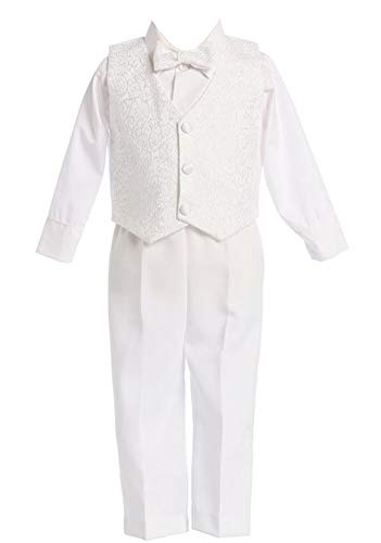 White Boys Embroidered Jacquard Christening Baptism or Wedding Vest Set - Size -