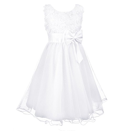 Acecharming Little Girls' Flower Formal Wedding Bridesmaid Party Dress (L(6)(5-6years), White)