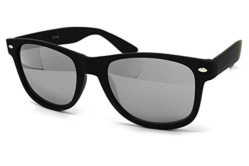 Mirror Rim Finish (O2 Eyewear 97800 Premium Soft Horned Rim Matte Finish Flash Candy Mirror Revo Retro Sunglasses (MATTE BLACK, SILVER))