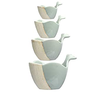 Creative Co-op Stoneware Whale (Set of 4) Measuring Cups, Grey