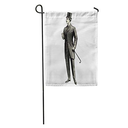 Semtomn Garden Flag Elegant Man of The Nineteenth Century Vintage Engraved Catalog French Home Yard House Decor Barnner Outdoor Stand 28x40 Inches Flag - French Decor Catalog