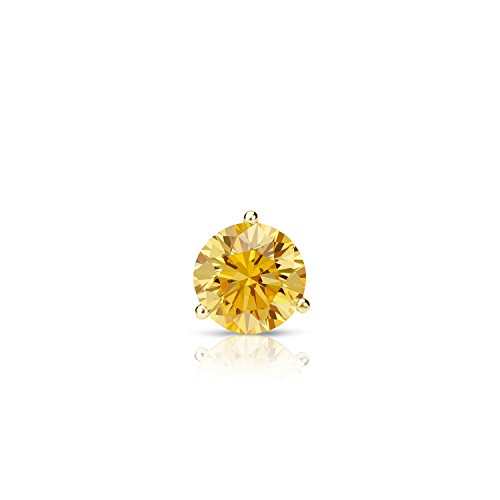 14k Yellow Gold 3-Prong Martini Round Yellow Diamond SINGLE STUD Earring (1/5 ct, Yellow, I1-I2)