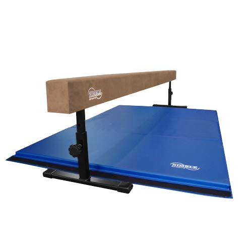 Nimble Sports Gymnastics Beam and Mat Combo – Tan, 14 to 24 Inch High 8 Feet Long Balance Beam and Blue 4 Feet X 6 Feet Folding Mat