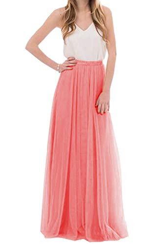 Omelas Womens Long Floor Length Tulle Skirt High Waisted Maxi Tutu Party Dress (Coral, -