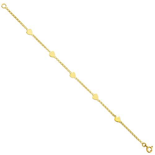 Tousmesbijoux Bracelet coeurs en Or jaune 375/00
