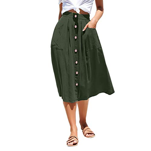 Suede Long Skirt (Women Casual Skirt Button Front High Waist Hip with Pocket Long Skirt Pleate Ruffle Dress Solid Color Ankle Skirt Army Green)