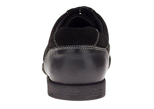 Gino Valentino Heren Skelter Leren Schoenen Fashion Sneaker Zwart