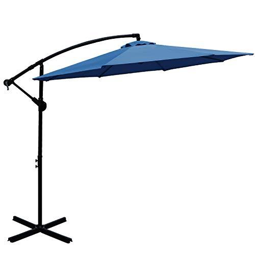ABCCANOPY 10 FT Hanging Umbrella Cantilever Umbrella Offset Patio Umbrella Outdoor Market Umbrella Easy Open Lift 360 Degree Rotation (Navy Blue)