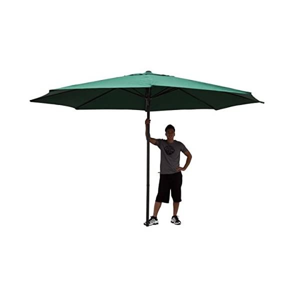 "GHP 13Ft Green Aluminum UV Protective Anti-fade 180D Polyester Patio Umbrella - Color: Green Dimensions: 13 feet in diameter, the largest in the market. Pole Measurement: 100"" Length x 2 "" Diameter - shades-parasols, patio-furniture, patio - 31ksBL2 LbL. SS570  -"