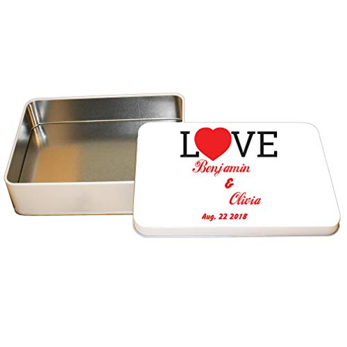 Style In Print Personalized Custom Text Wedding Love Letters Couple Aluminun Trinket Box Metal Tin - 4