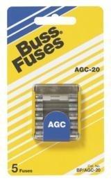 Bussmann BP/AGC-1/2 1/2 Amp Fast Acting Glass Tube Fuse, 250V UL Listed Carded, 5-Pack