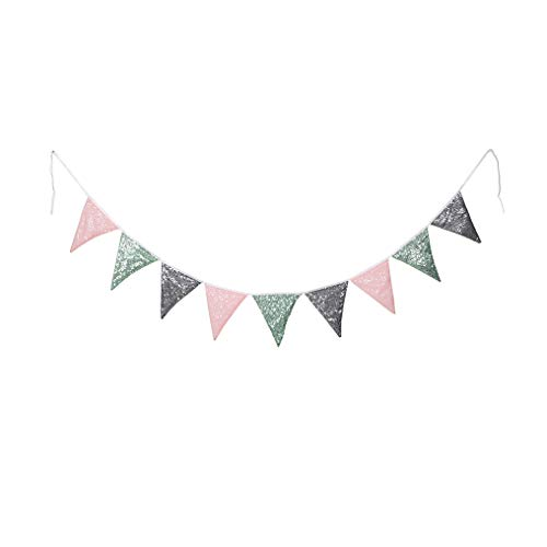PartyDelight Pink Mint Green and Metallic Gray Sequin Bunting, Multicolor Fabric Triangle Flag Bunting for Party,Wedding Sequin Bunting/Garland, Outdoor Bunting Flag(9 Flags in one Bunting,2 Packs)