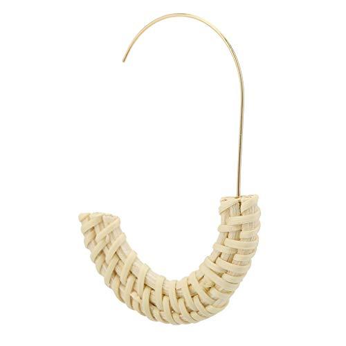- Psunrise Pendientes Simple Bohemian Retro Style Handmade Rattan Geometric Semicircle Ladies Jewelry(7×4.2cm, Beige)