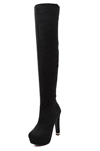 Above Women's The Black Suede Boots High Toe AmoonyFashion Knee Round Imitated Closed Heels FqBqgZa