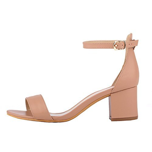 Women's Heeled Sandals Ankle Strap Chunky High Heels 5CM Open Toe Low Sandals Bridal Party Shoes Nude Size (Sandal Ankle Charm)
