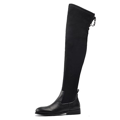 DONNAIN Women Thigh High Boot Black Winter Flat Heel Round Toe Stretchy Over The Knee Boots For Women Black Leather cheap countdown package newest online kCMuQz