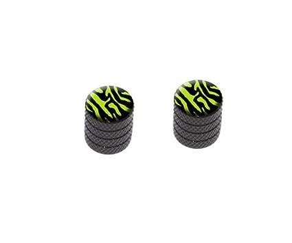 Tire Rim Wheel Valve Stem Caps Zebra Print Black Lime Green Black