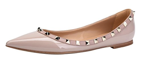 CAMSSOO Women's Classic Rivets Pointy Toe Slip On Comfort Flats Dress Pumps Shoes Beige Patant PU Size US 10 EU42