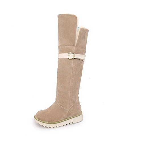 Round AgooLar Solid Low Boots Apricot Toe Heels Pull Closed Women's Frosted on 77qZfXRw