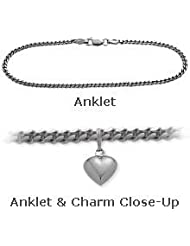 10K White Gold Curb Style Anklet with 9mm Heart Charm