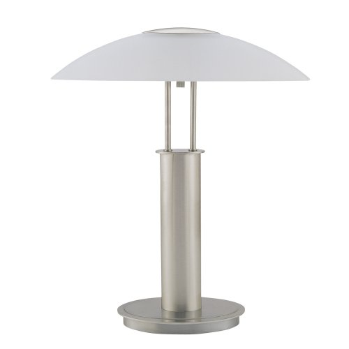 ORE International 6276 18-Inch Touch Table Lamp, Brushed Nickel with Glass Mushroom Lamp Shade