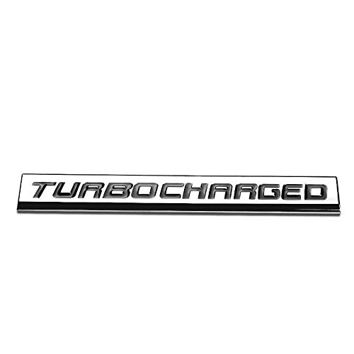 UrMarketOutlet TURBOCHARGED Black/Chrome Aluminum Alloy Auto Trunk Door Fender Bumper Badge Decal Emblem Adhesive Tape Sticker
