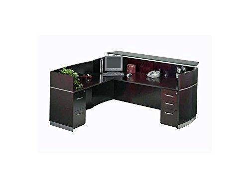 - Napoli Reception L-Desk with Glass Countertop Mahogany Dimensions: 87.25