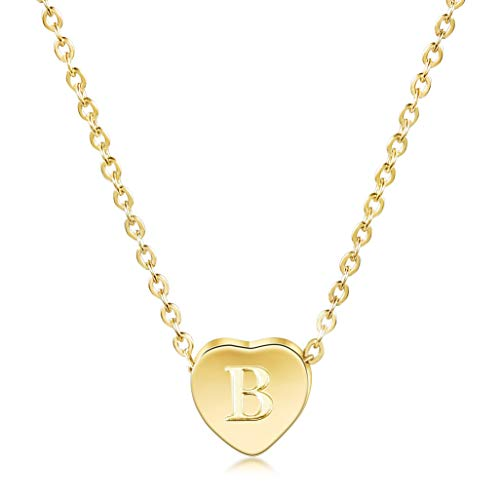 JINBAOYING Gold Initial Necklace-14K Gold Plated Children Necklace with Disc Heart Charm Letter Necklace, Dainty Personalized Letter Heart Necklaces with Adjustable Chain Pendant Enhancers